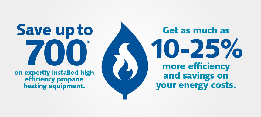 Save up to $700 on expertly installed high efficiency propane heating equipment.